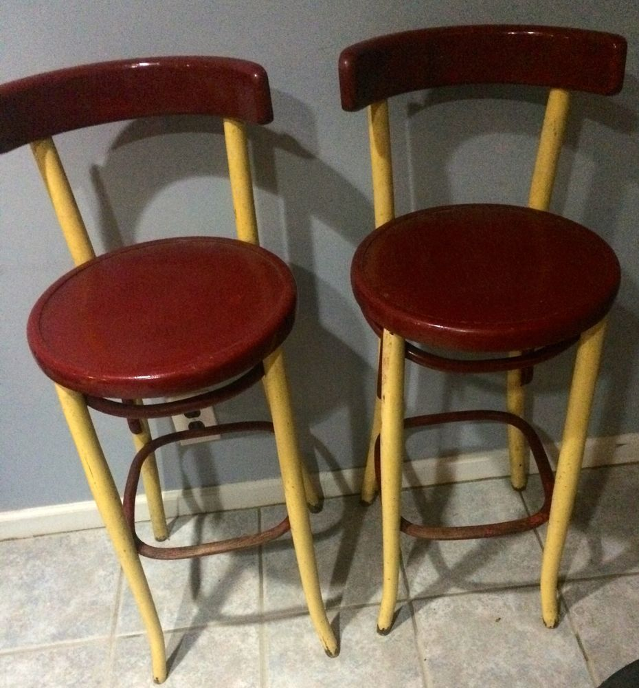 Antique Fischel Astra Bentwood Bar Stools Pair 1900s Thonet  # Muebles Fischel