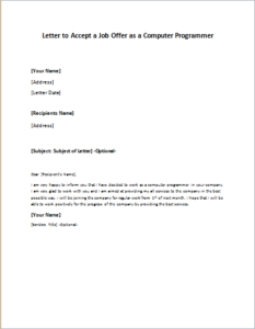 Letter to Accept a Job Offer as a Computer Programmer DOWNLOAD at