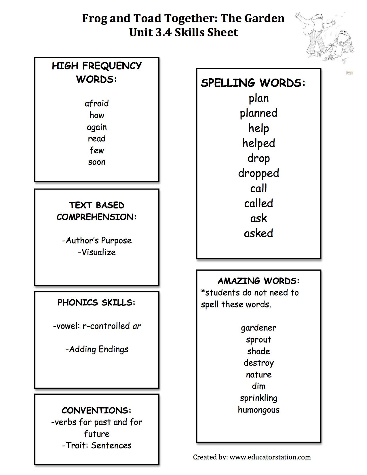 Worksheets Frog And Toad Together Worksheets frog and toad together skills sheet reading street pinterest sheet