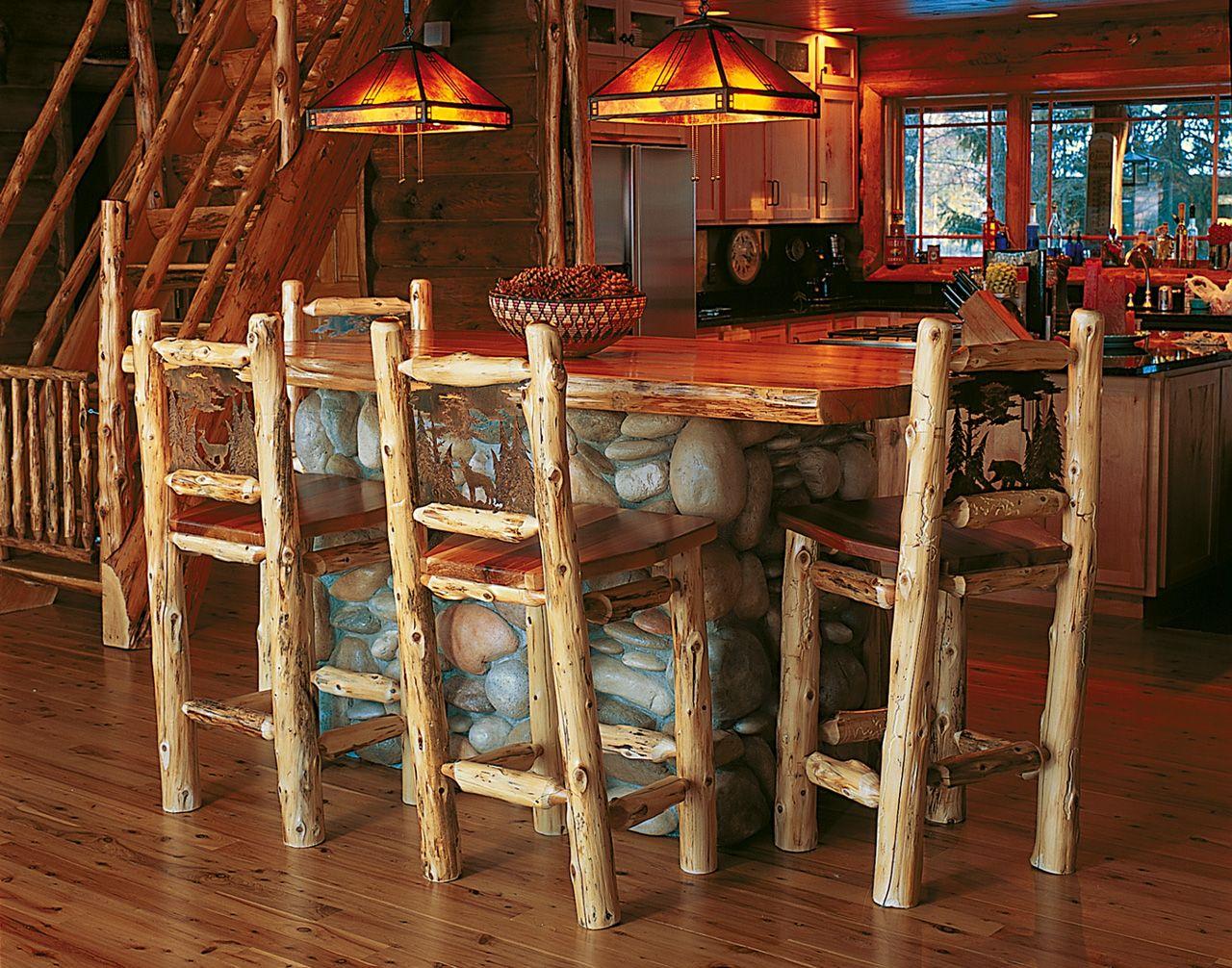 Cuyuna Bar Stool Log Cabin Decor Cabin Decor Log Cabin Kitchens