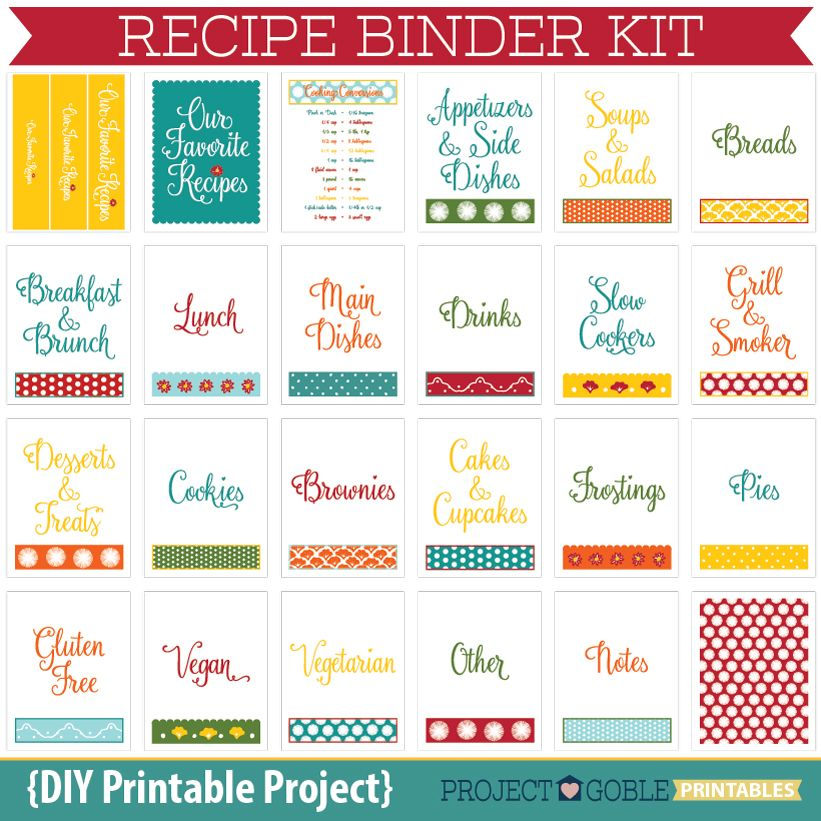 Recipe Binder Kit {DIY Printable Project}