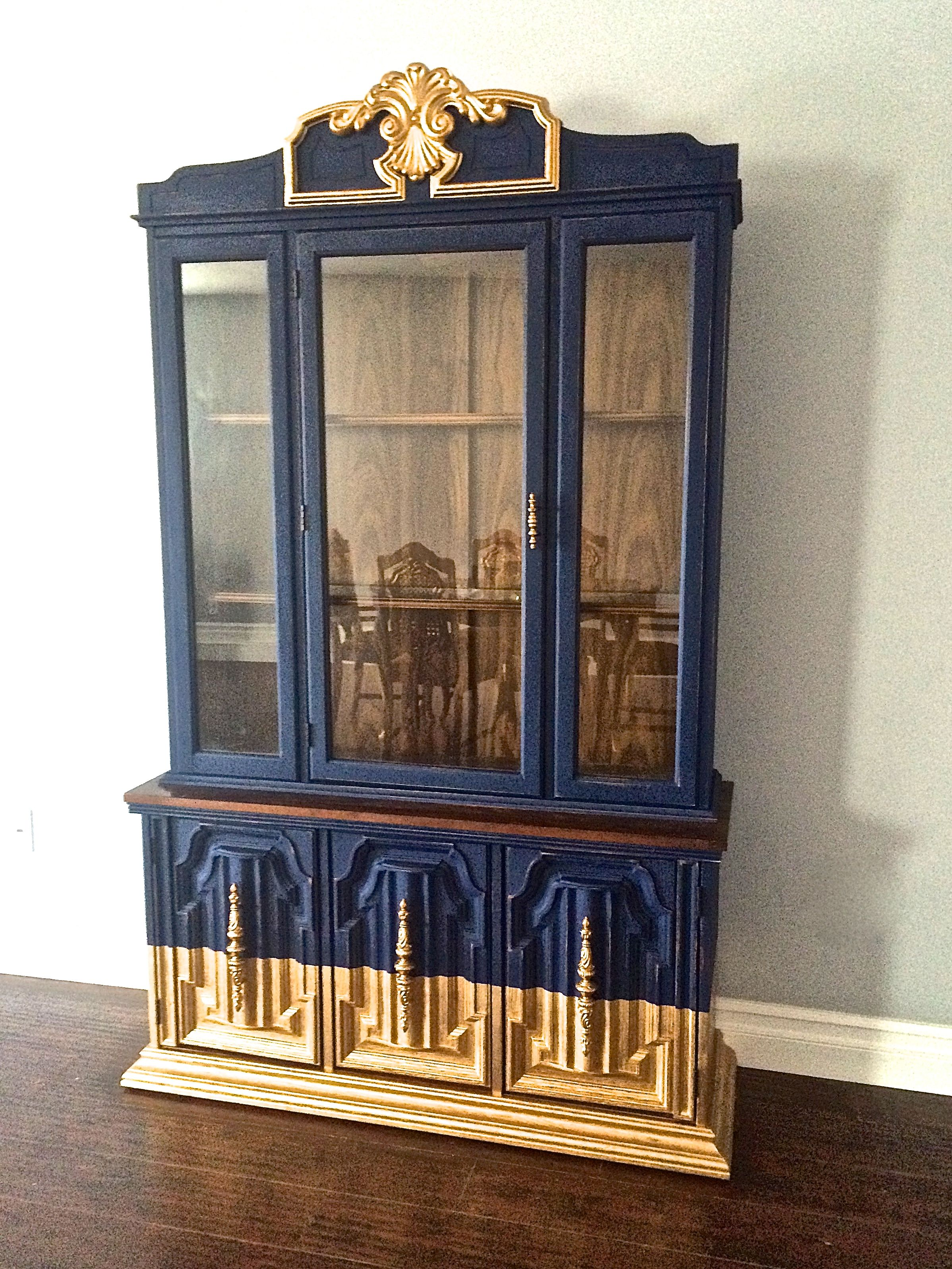 Shabby Chic Navy Blue & Gold Leaf Hutch  Custom