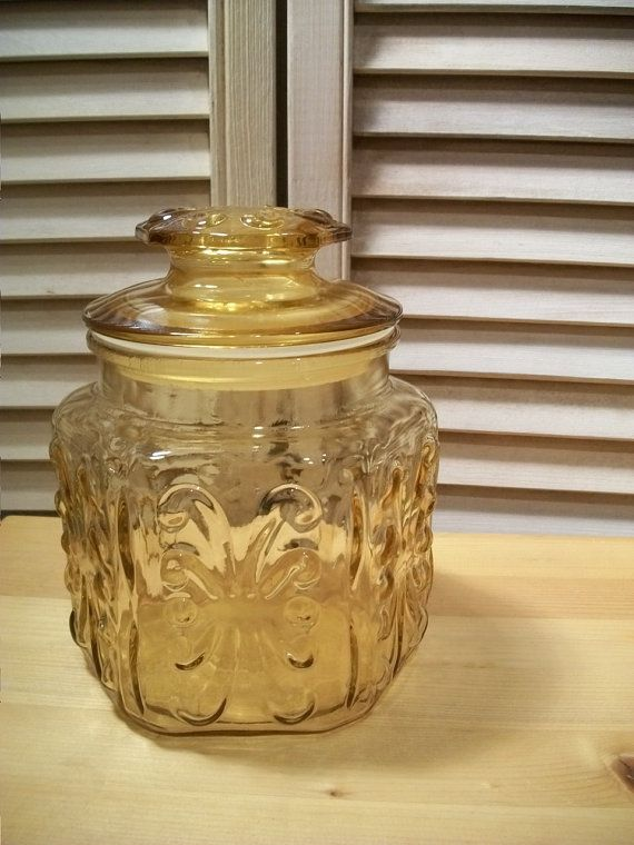 Vintage Amber Decorative Canister With Lid Cookie Jar Gl 70s Dry Goods Container