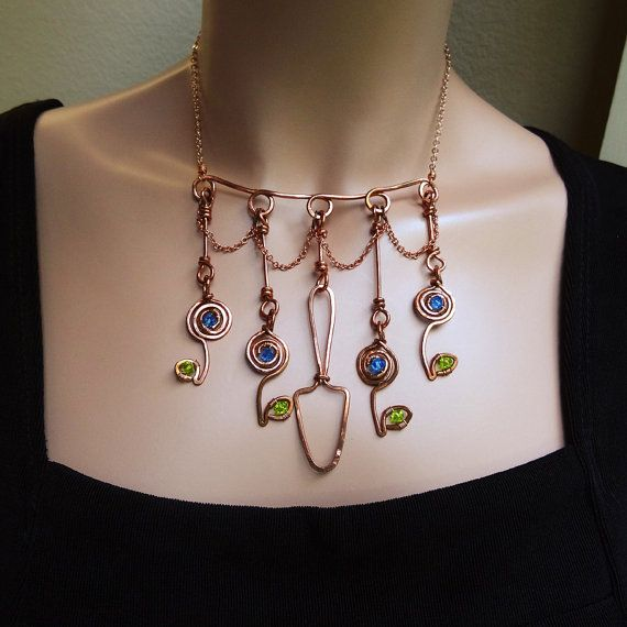 Garden Copper Choker Necklace Earrings Set by sparkflight on Etsy