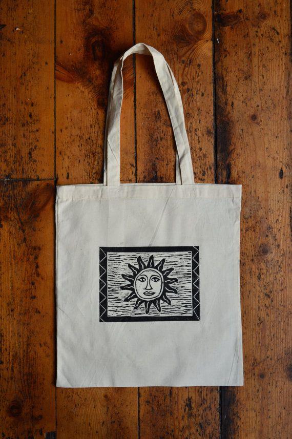 7440aa0ac Hippie Sun print tote bag with celestial boho sun face design. Cotton Lino  printed hippie tote bag