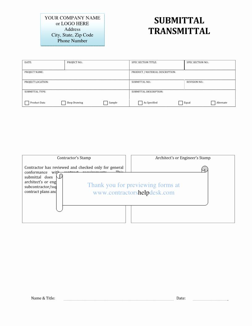 Material Submittal Form Template Lovely Good Submittal Stamp