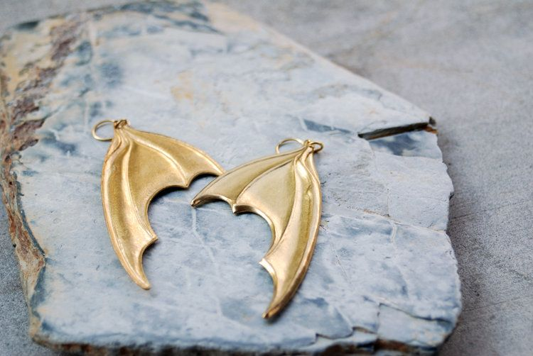 Brass Bat Wing / Dragon Wing Earrings Wing earrings, Bat
