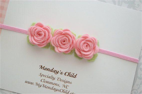 Felt Flower Headband in Little Pink Rose - Felt Headband - Pink Baby Headband - Newborn Headband, Baby Headband, Toddler Headband #feltflowerheadbands