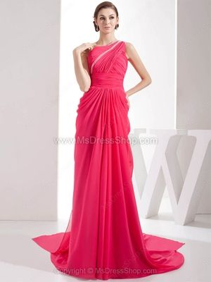 Sheath/Column One Shoulder Chiffon Chapel Train Beading Prom Dresses