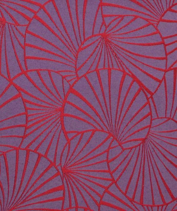 50 x 140 cm Nymphéas ROUGE JACQUARD réversible THEVENON Tissu art déco