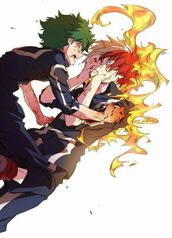 Izuku, Shouto, crying, sad, quirk, fire