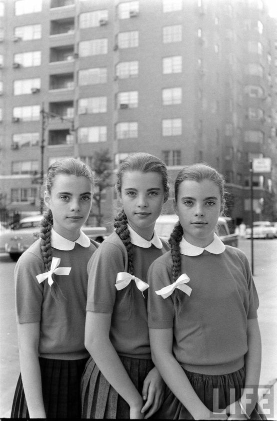 +~+~ Vintage Photograph ~+~+    Triplets modeling their braids before getting a hair cut.  May 8, 1964  Webster Groves, MO, US