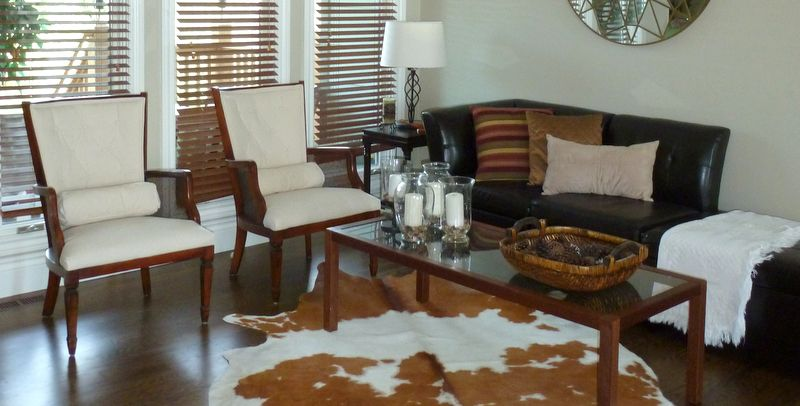 Living room makeover, before and after, re-upholstered furniture