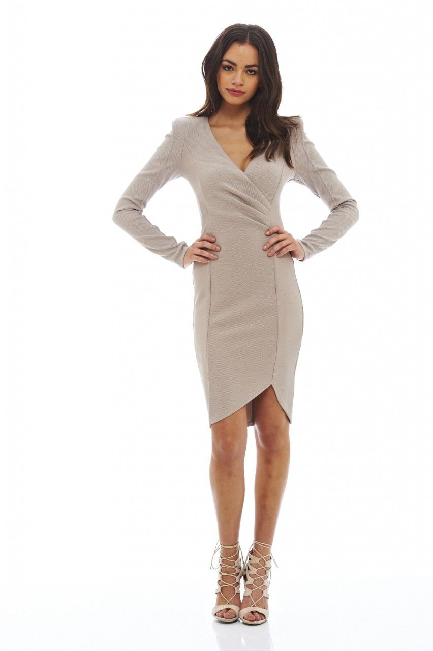 Wrap front long sleeved dress wardrobe pinterest wraps mini