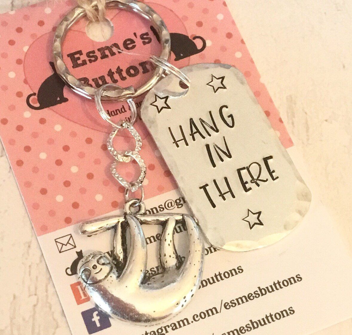 Isolation sloth keyring hang in there social distancing