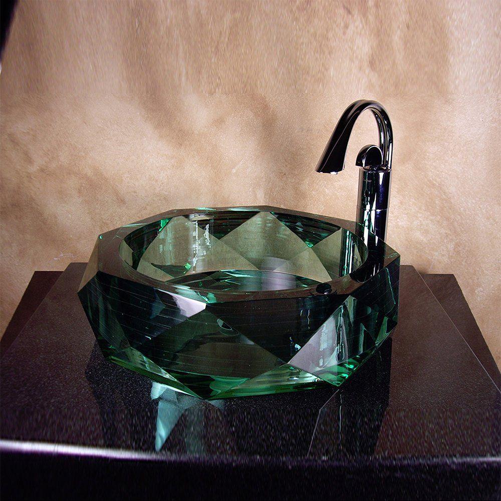 Yosemite Home Decor Diamond Gl Basin Vessel Sink Jade Polished