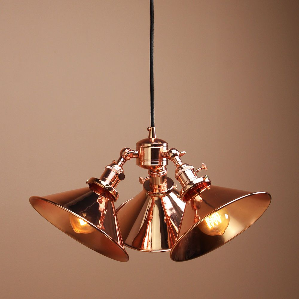 Copper Kitchen Lighting Details About Vintage Industrial Three Headed Copper Shade Hanging