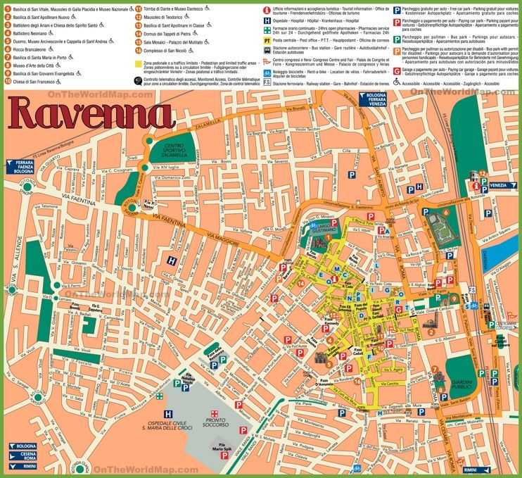 Ravenna sightseeing map Maps Pinterest Ravenna Italy and City