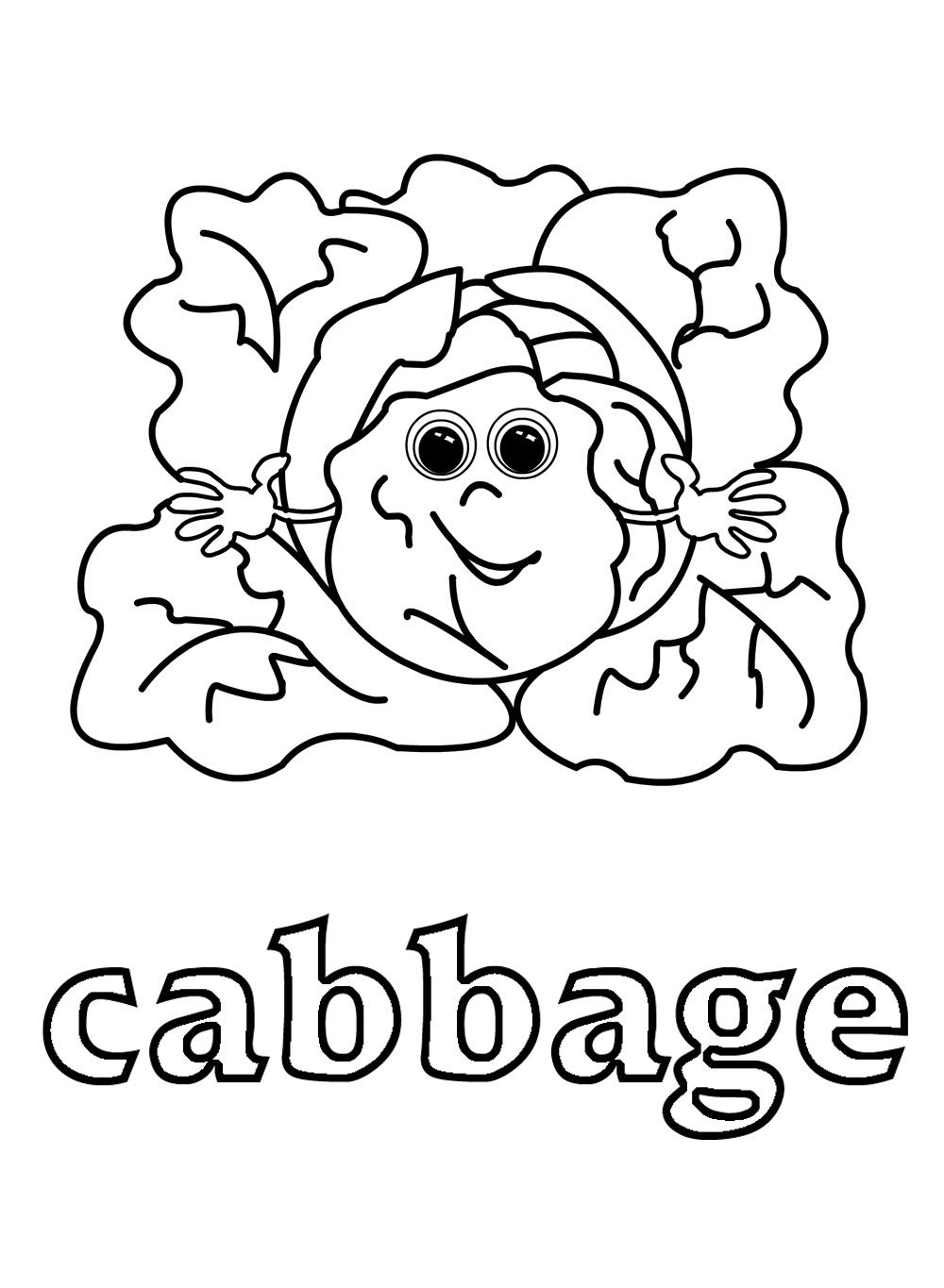 Cabbage Vegetable Coloring Pages