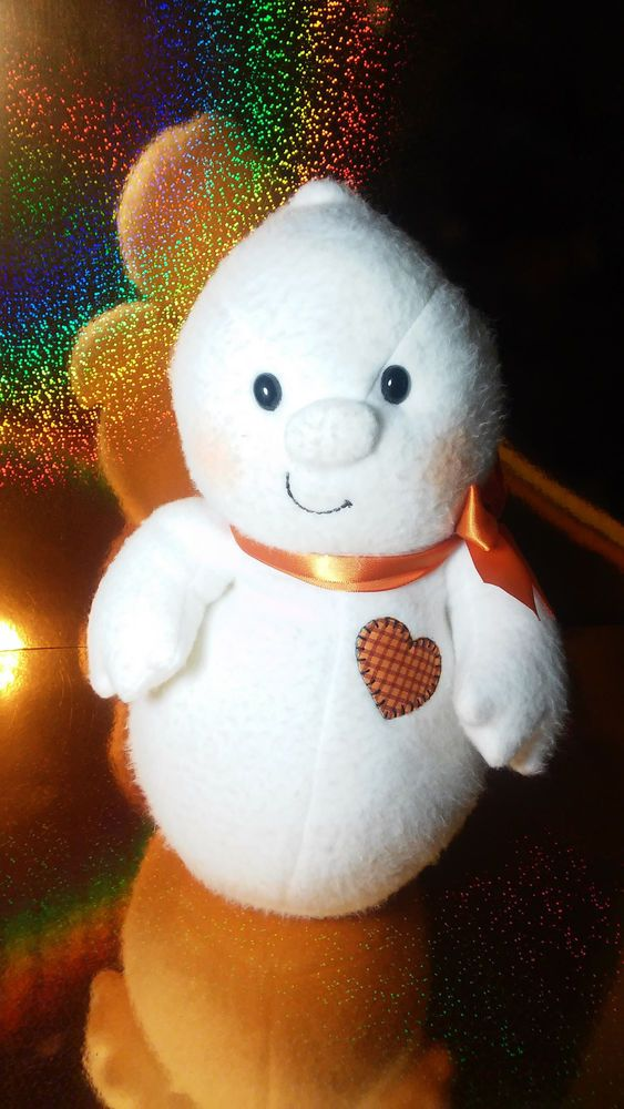 HALLMARK GLIMMER THE LITTLE GHOST HALLOWEEN PLUSH TOY PATCHWORK HEART ORANGE BOW #Hallmarkplush #halloween #halloweenplush #ghost