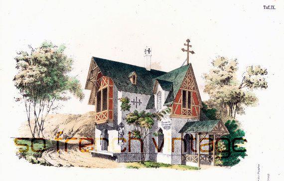 1854 Maison rustique plans du0027architecte Format A3 gravure ancienne