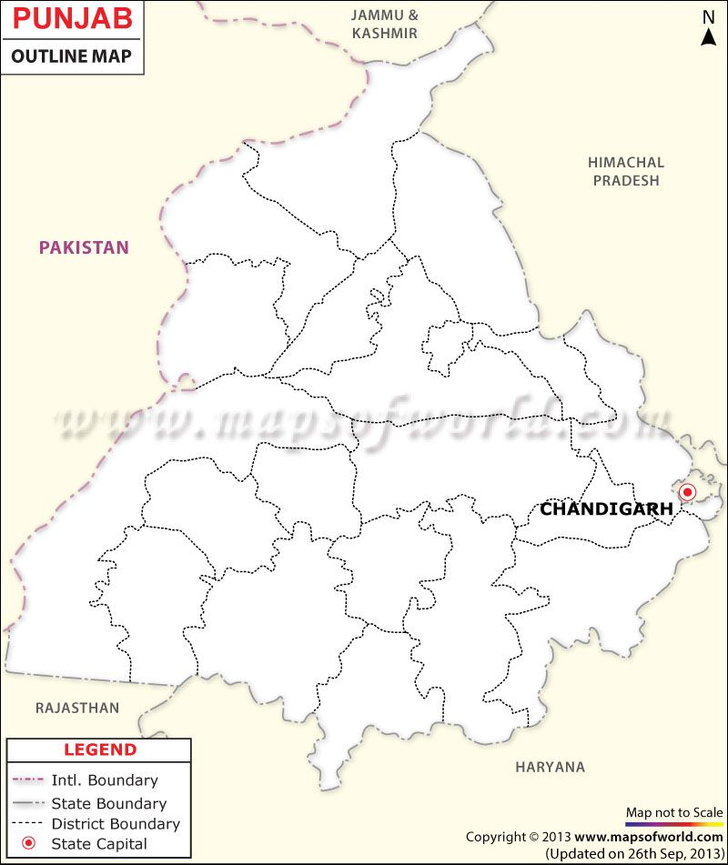 Punjab Outline Map | Maps | Outline, Map, Chandigarh