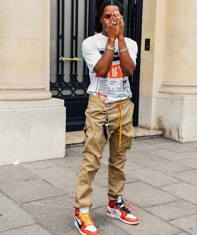 b9da0407233 ASAP Rocky Wears Loewe T-Shirt and Off-White x Air Jordan 1 Sneakers in  Paris | UpscaleHype
