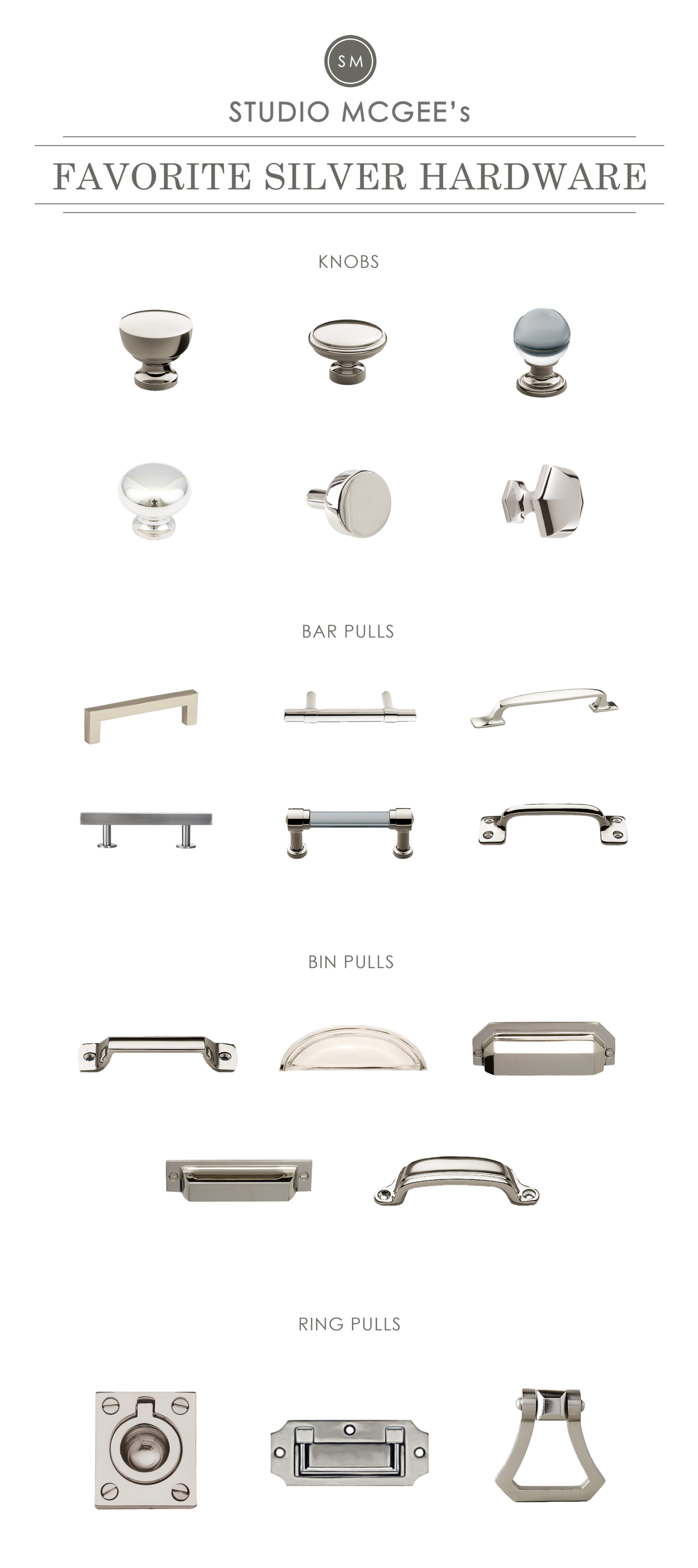 kitchen cabinets knobs and pulls runners silver hardware roundup studio mcgee blog pinterest
