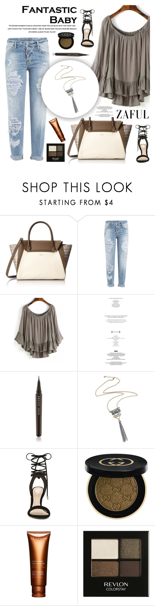 """Zaful 16"" by sabinakopic ❤ liked on Polyvore featuring Vince Camuto, Dsquared2, Marc Jacobs, ALDO, Gucci, Clarins, Revlon, bestylish, zaful and lovezaful"
