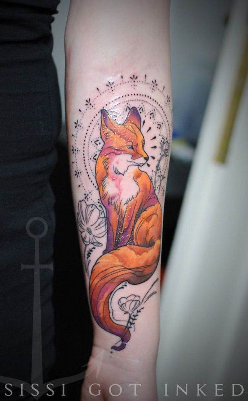 Amazing Style Painted Colored Fox With Flowers And Ornaments Tattoo On Arm Tattoos Fox Tattoo Fox Tattoo Design