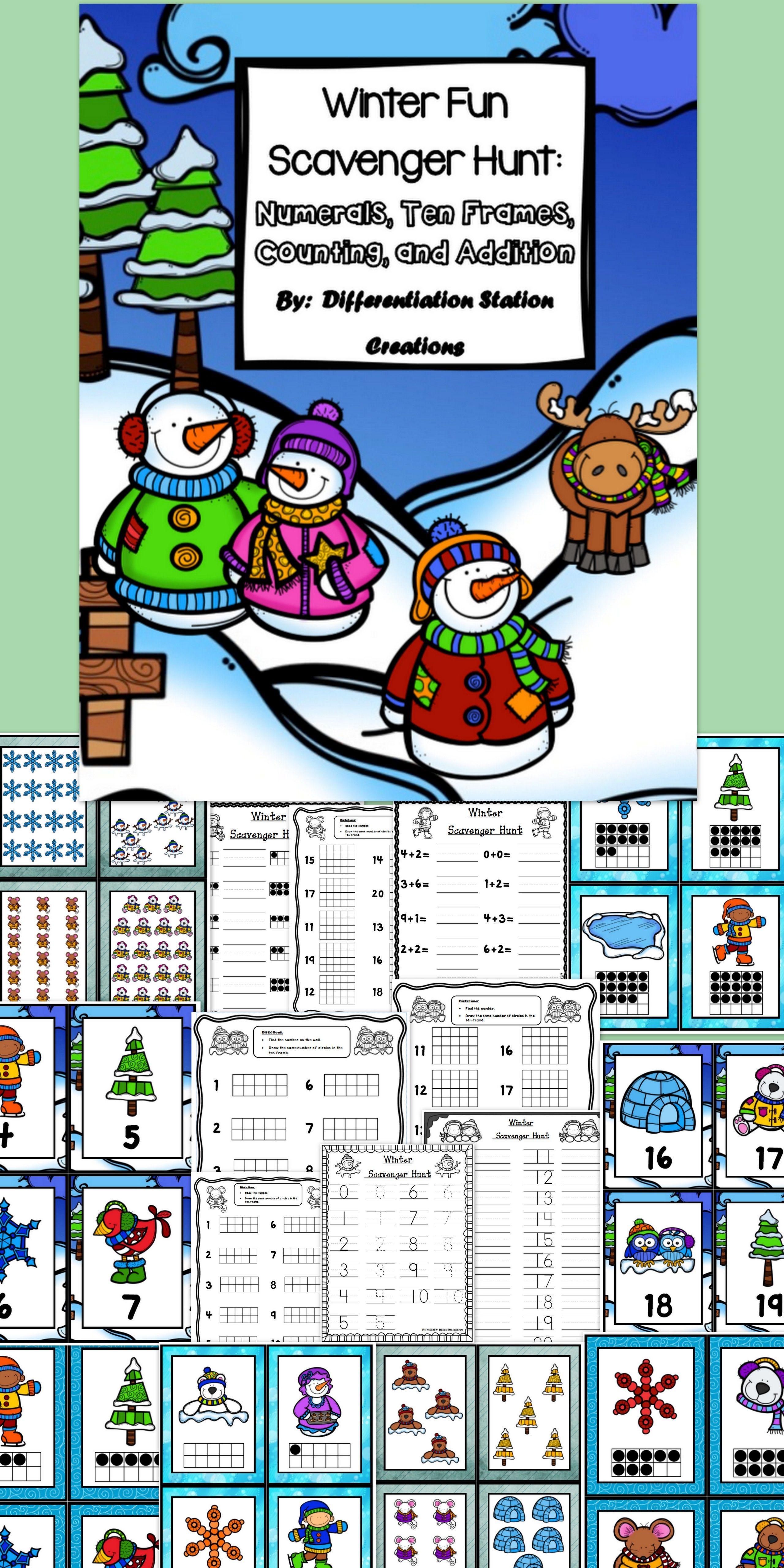 Winter Math Scavenger Hunt Numerals Ten Frames Counting