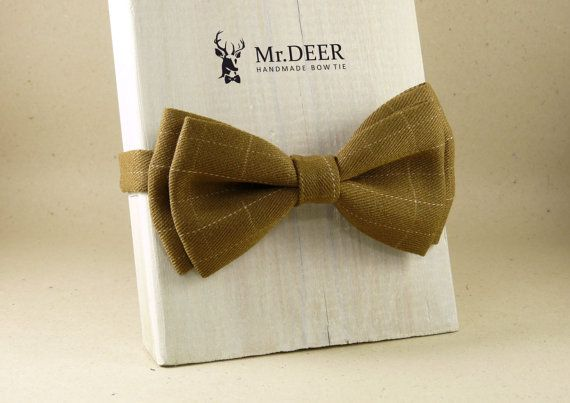 Brown Hipster Bow Tie - Ready Tied Bow Tie - Adult Bow Tie - Mens bowtie - Groomsman, Wedding Bow Tie - Gift for Him - Mr.DEER