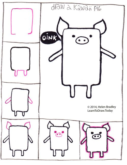 Pig kawaii2 drawing animals pinterest drawings for Fun stuff to draw step by step