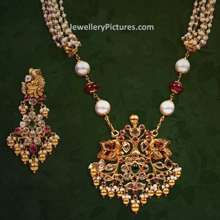Trendy Latest South Indian Jewellery Designs with pearls chain ...