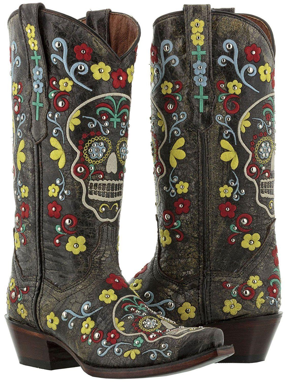 Women s Black Punk Skull Distressed Leather Cowboy Boots Snip Toe ... 6198d26293f