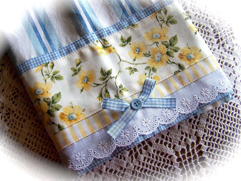Roses Yellow White Blue Tea Towel Cloth Dish Towel