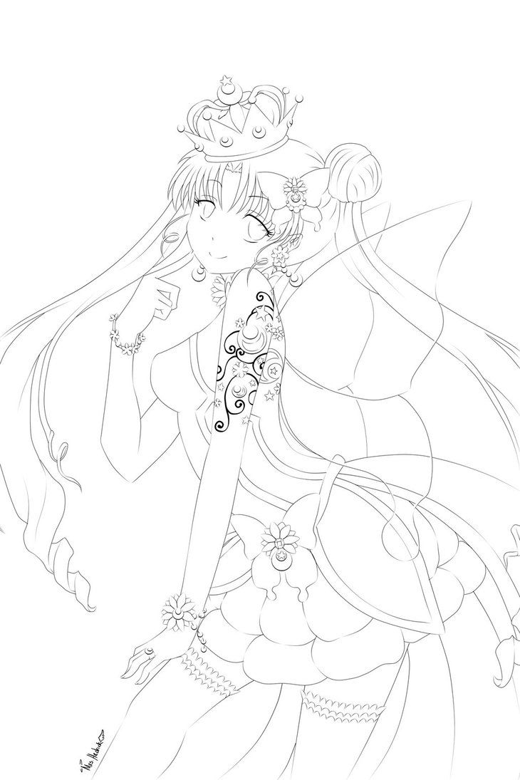 princess serenity line art by nightmaresky on deviantart
