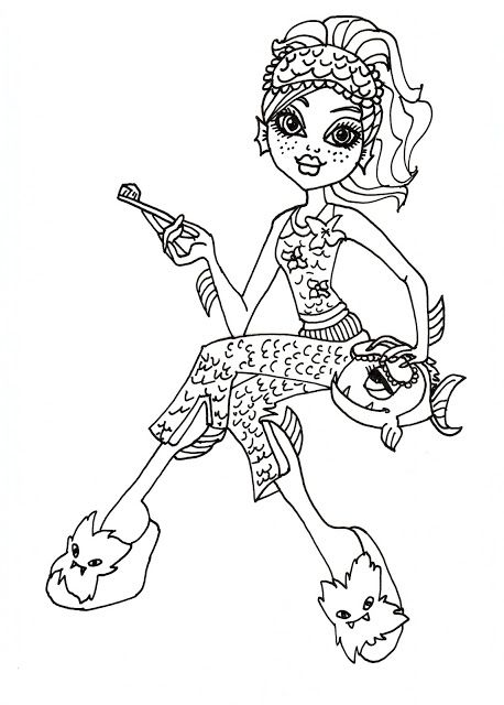 Monster High Pets Coloring Pages Lagoona Blue Free