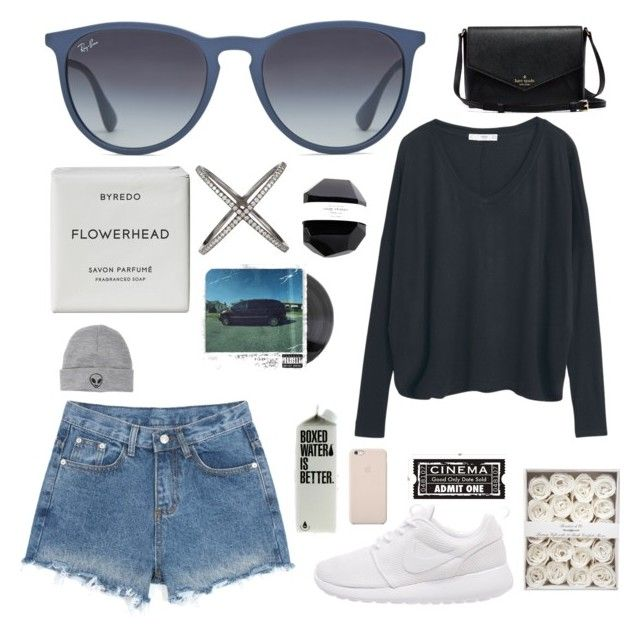 """"""""""" by emardosz ❤ liked on Polyvore featuring Ray-Ban, MANGO, Byredo, Eva Fehren, With Love From CA, NIKE and Black Apple"""