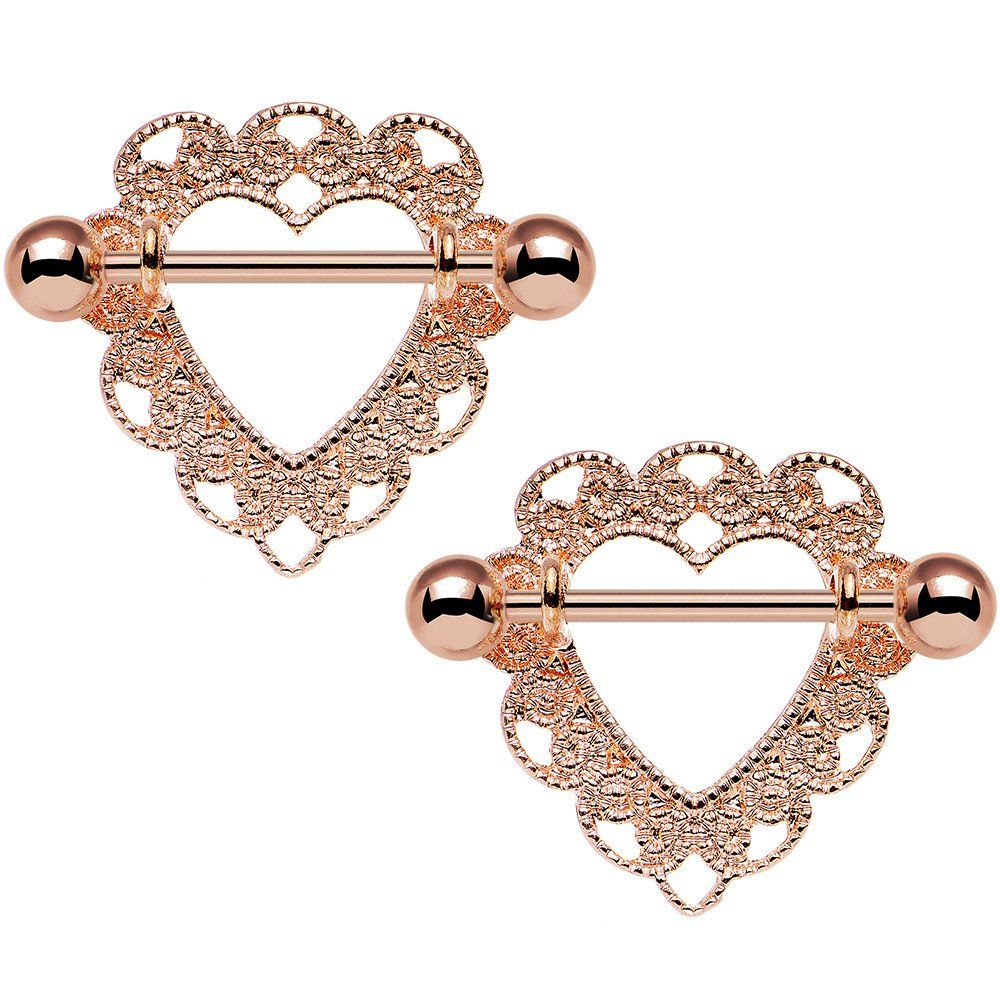 Body Candy Anodized Steel Clear Accent Bow Heart Nipple Shield Set of 2 14 Gauge 3//4