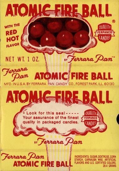 Atomic Fire Ball candy. Nello Ferrara, the son of Salvatore Ferrara, created the famous Atomic Fire Ball in 1954.