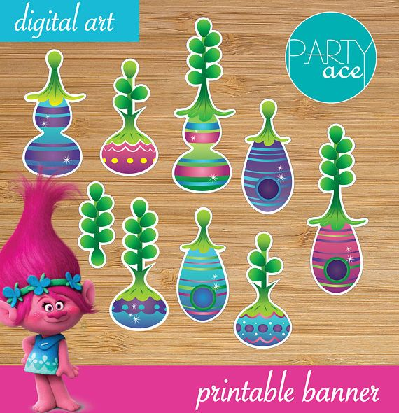 Trolls Princess Poppy WALL BANNER DECORATING KIT with 12 photo props!