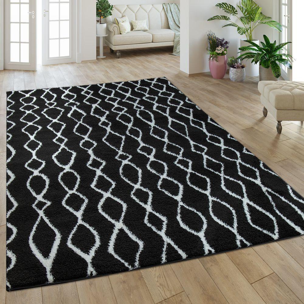 Hochflor Teppich Mit Rauten Muster In Schwarz Weiss Teppich Schwarz Weiss Teppich Hochflor Teppich