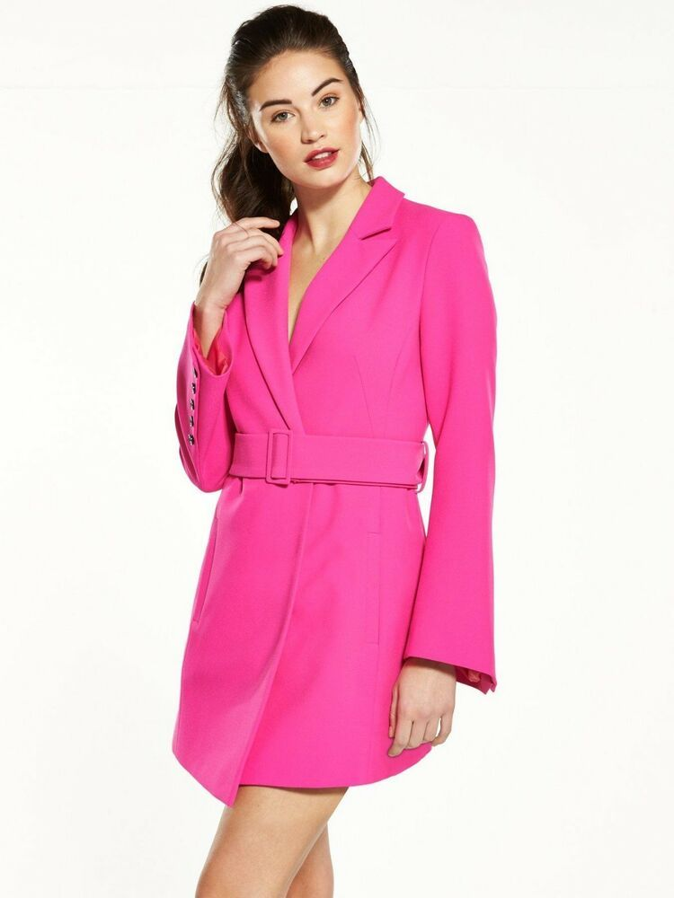 V By Very Pink Tuxedo Blazer Smart Military Coat Belted Dress Jacket 6 to 16 New