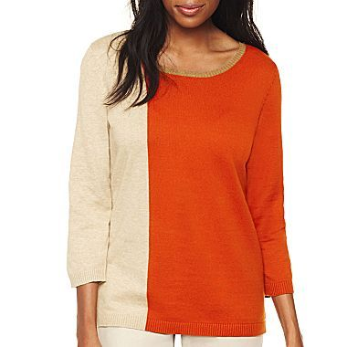 ae14e1a0ee9 Liz Claiborne 3/4-Sleeve Colorblock Knitted Pullover Top - jcpenney ...