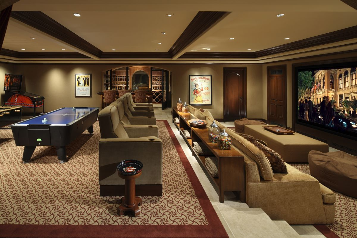 Luxury media room game room landry design group inc for Game room floor plans ideas