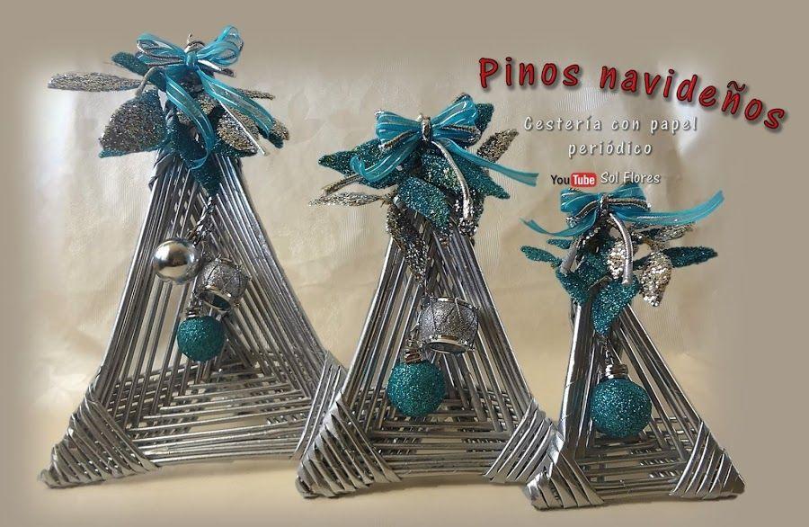 Cester a con papel peri dico para navidad pino navide o - Cesteria con papel periodico paso a paso ...
