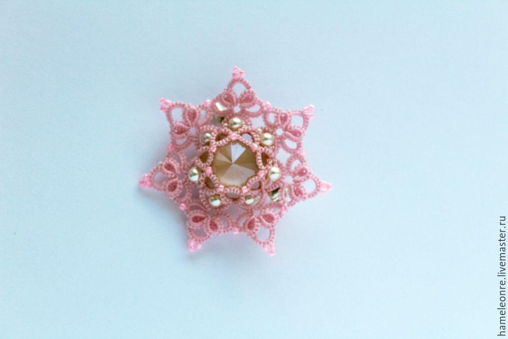 Плетем брошь-кулон «Цветочная» в технике фриволите - Ярмарка Мастеров - ручная работа, handmade