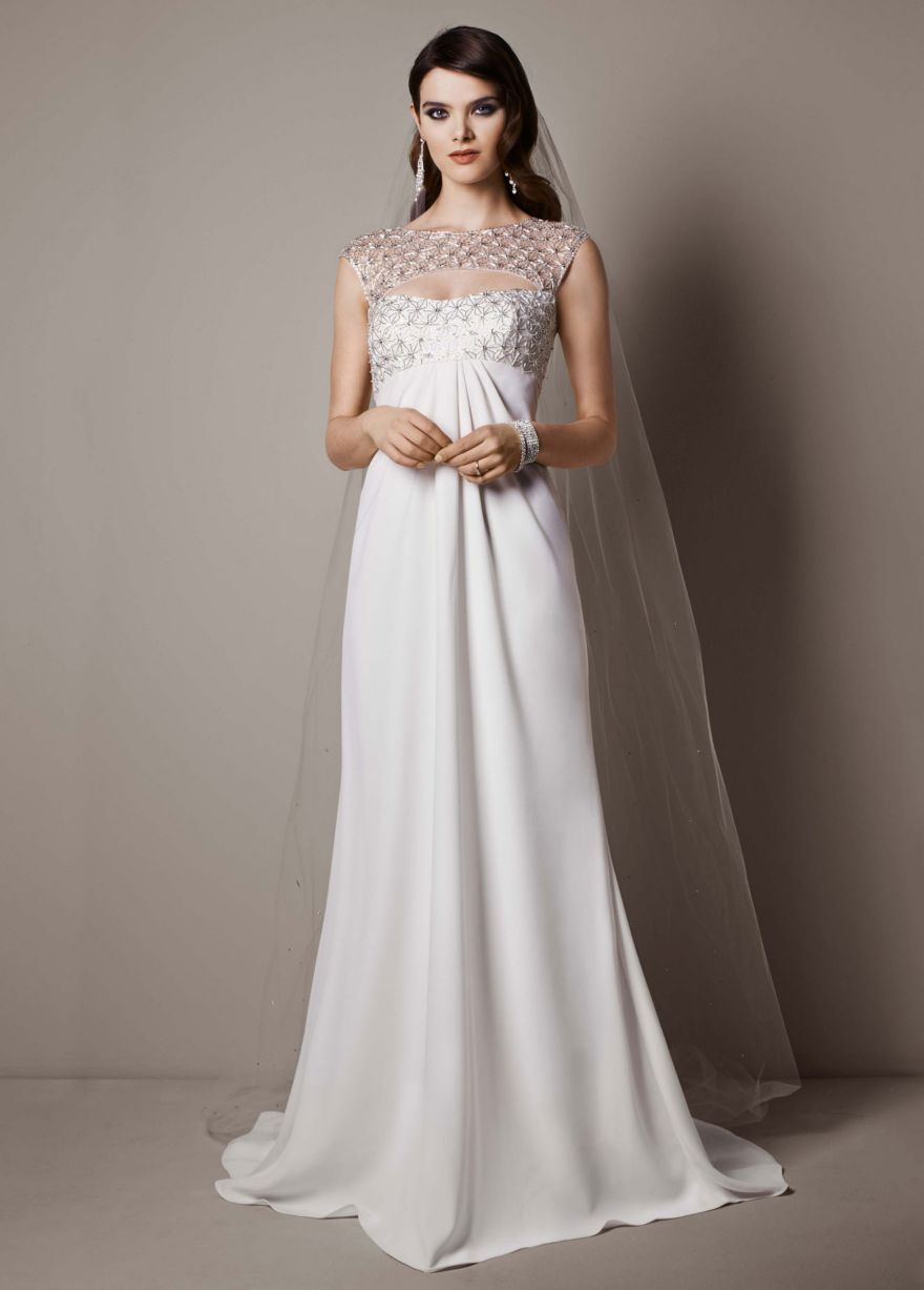 Cap sleeve crepe sheath gown with beaded bodice davidus bridal