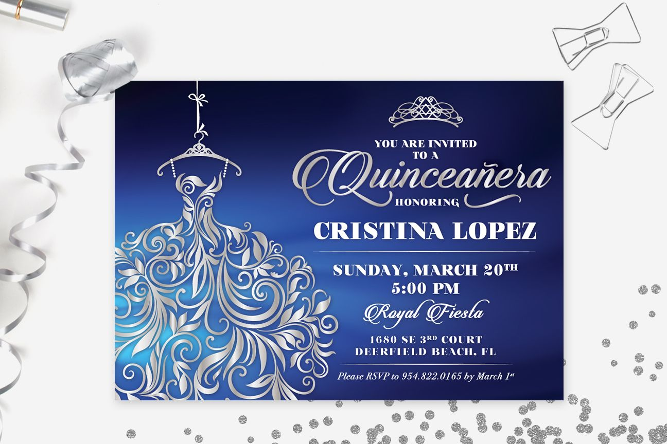QUINCEAERA INVITATION Printable Sweet 15 Invite Royal Blue and